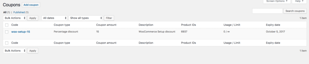 WooCommerce Coupons List