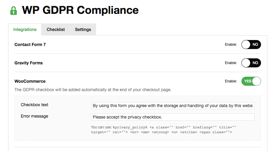 WooCommerce GDPR Checkbox